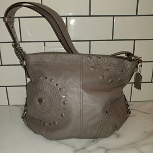 Coach silver leather hobo bag